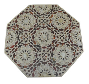 Egyptian Moroccan Mother of Pearl Wood Coffee Table