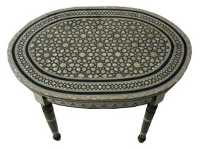 Egyptian Mother of Pearl Inlaid Wood Oval Coffee Table