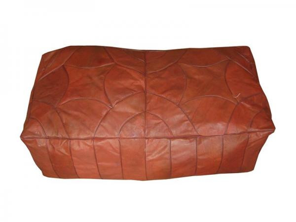 Brown Leather Ottoman Moroccan Bench Footstool