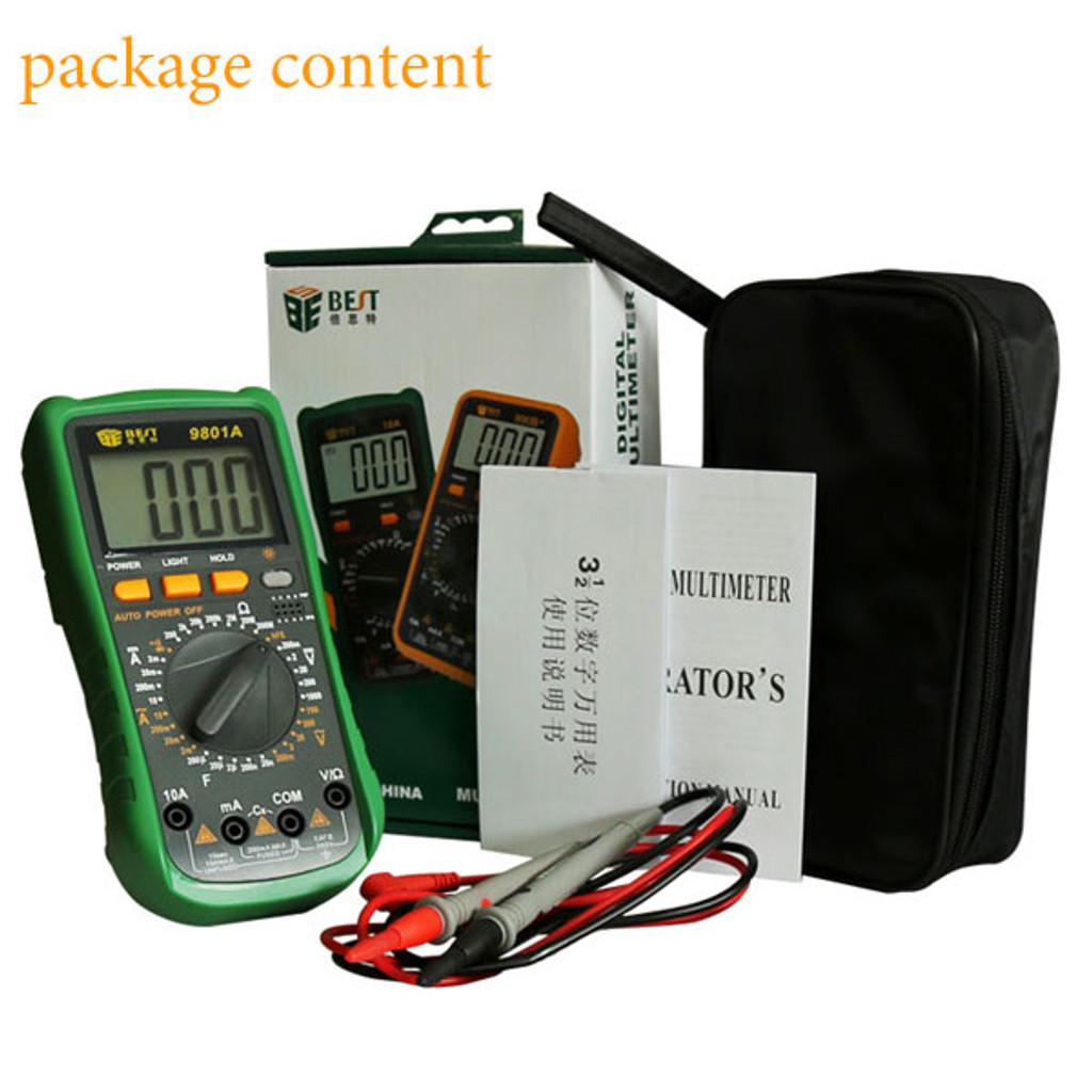 BST-9801A 3 1/2 LCD Display Digital Multimeter Electrical ...