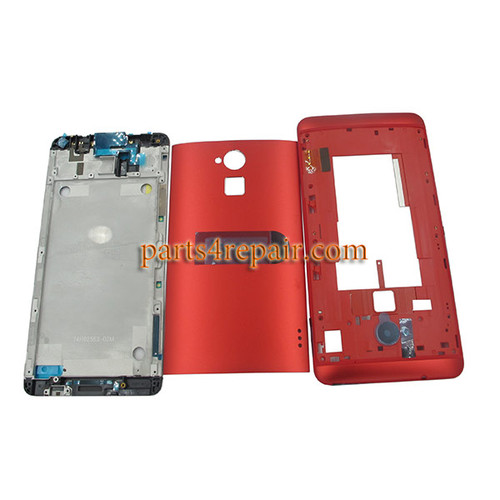 Full Housing Cover for HTC One Max -Red