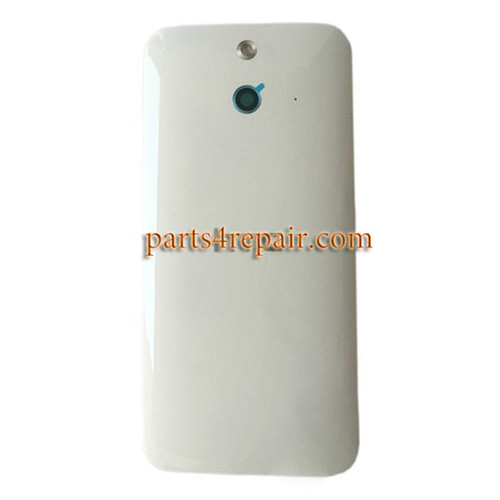 Back Cover with Power Button for HTC One E8 -White