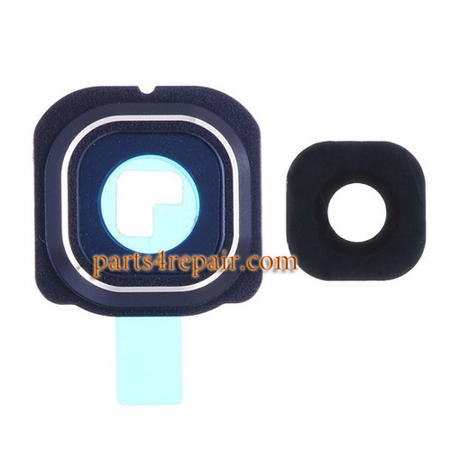 Camera Cover and Lens with Adhesive for Samsung Galaxy S6 Edge All Versions -Sapphire