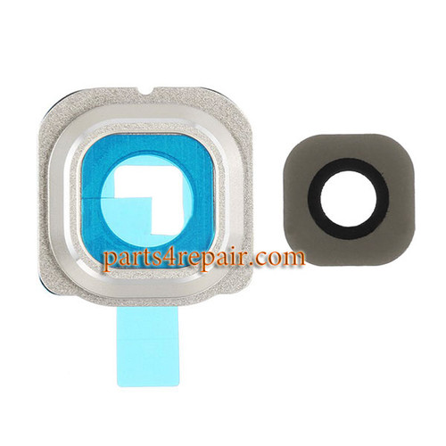 Camera Cover and Lens with Adhesive for Samsung Galaxy S6 Edge All Versions -Gold