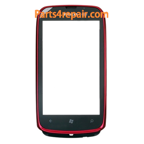 Nokia Lumia 610 Touch Screen with Front Bezel -Red