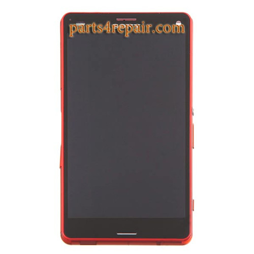 Complete Screen Assembly with Bezel for Sony Xpeira Z3 Compact (Z3 mini) -Orange