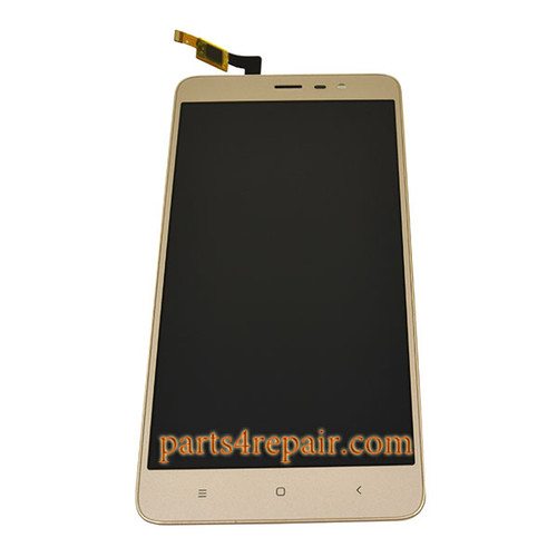 Complete Screen Assembly with Bezel for Xiaomi Redmi Note 3 -Gold