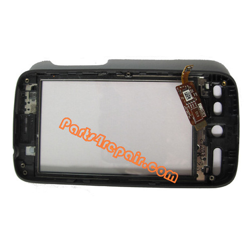 HTC Desire Touch Screen with Front Cover -Black from www.parts4repair.com