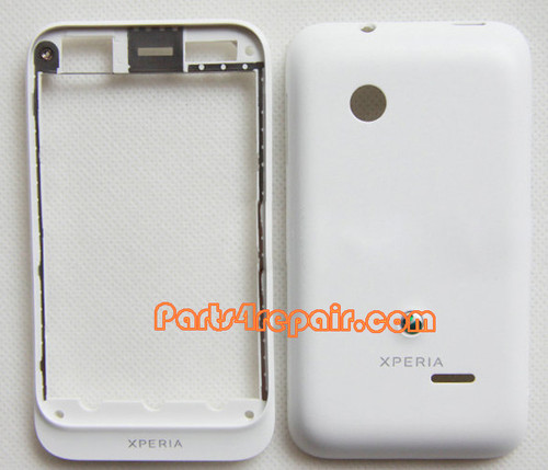 Front Cover & Back Cover for Sony Xperia tipo ST21I -White from www.parts4repair.com