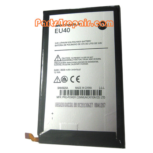 EU40 Battery for Motorola Droid Ultra XT1080 from www.parts4repair.com