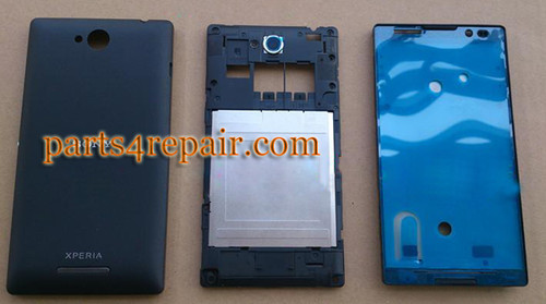 Full Body Housing Cover for Sony Xperia C S39H -Black from www.parts4repair.com