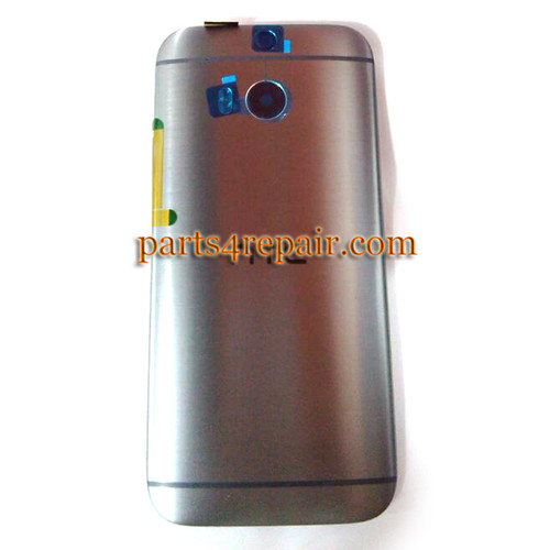 Back Cover with Side Keys for HTC One M8 -Gray
