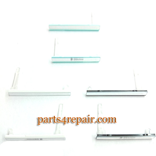 SIM Cover & Micro SD Cover for Sony Xperia C3 S55 -White from www.parts4repair.com