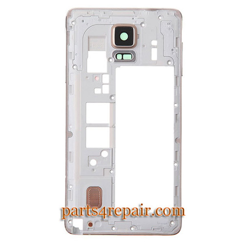 Middle Cover with Small parts for Samsung Galaxy Note 4 -Gold from www.parts4repair.com