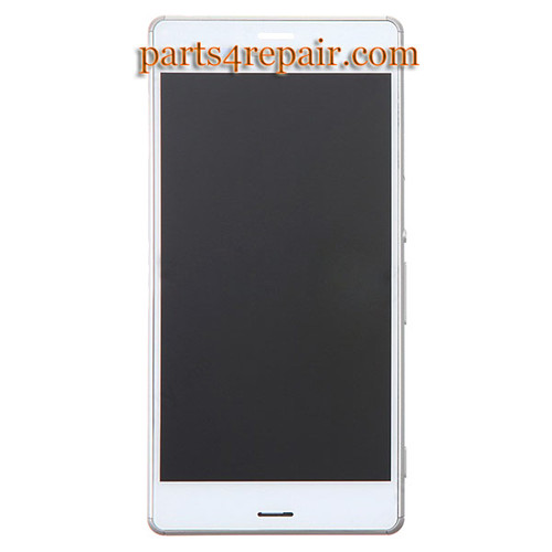 Complete Screen Assembly with Bezel for Sony Xperia Z3 -White (Refurbished)
