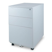 Aurora FC-103WT  Modern SOHO Design 3-Drawer Metal Mobile File Cabinet with Lock Key Sliding Drawer, White