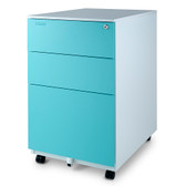 Aurora FC-103BL Modern SOHO Design 3-Drawer Metal Mobile File Cabinet with Lock Key Sliding Drawer, White/Aqua Blue