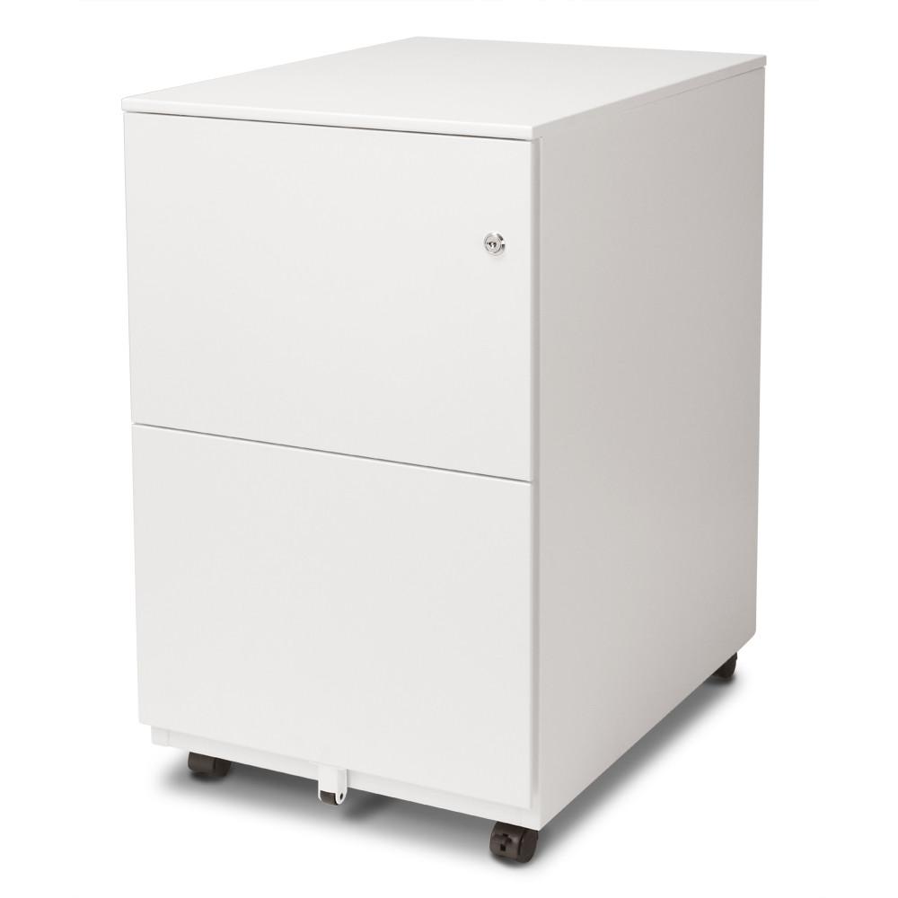 Aurora Fc 102wt Modern Soho Design 2 Drawer Metal Mobile File Cabinet With Lock Key Fully Assembled White