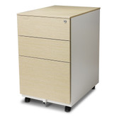 Aurora FC-103LW Modern Soho Design 3-Drawer Metal Mobile File Cabinet with Lock Key/ Fully Assembled, White / Light Wenge