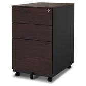 FC-103WA Modern Soho Design 3-Drawer Metal Mobile File Cabinet with Lock Key/ Fully Assembled, Walnut