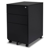 FC-103BK  Modern SOHO Design 3-Drawer Metal Mobile File Cabinet with Lock Key Sliding Drawer, Black