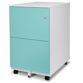 FC-102BL Modern Soho Design 2-Drawer Metal Mobile File Cabinet with Lock Key/ Fully Assembled, Blue