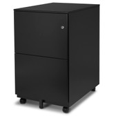 FC-102BK Modern Soho Design 2-Drawer Metal Mobile File Cabinet with Lock Key/ Fully Assembled, Black