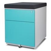 Aurora FC-S102BL Fully Assembled Modern Soho Design 2-Drawer Metal Mobile File Cabinet with Seat Cushion, White/ Aqua Blue/ Gray (seat cushion)