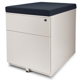 Aurora FC-S102WT Fully Assembled Modern Soho Design 2-Drawer Metal Mobile File Cabinet with Seat Cushion, White/ Gray (seat cushion)