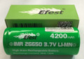 Efest IMR 4200mAh 26650 Li-ion High Drain Battery Flat Top Green