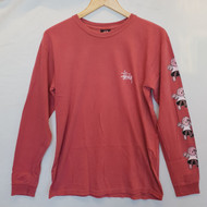 Stussy Dolls Pigment Dyed Long Sleeve Tee - Salmon Pink