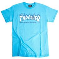 Thrasher Flame Logo Tee - Sky Blue