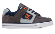 DC Pure Kids Skate Shoes - Grey and Dark Navy