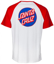 Santa Cruz Cut and Sew Dot Pocket Raglan - Red and White