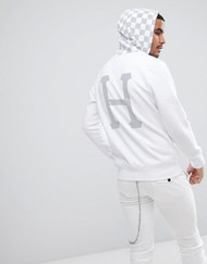 HUF Worldwide - Blackout Hoodie With Reflective Checkerboard Hood - White