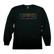 Thrasher Skateboard Magazine Cable Car Long Sleeve Tee - Black