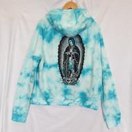 Santa Cruz - Guadalupe JJ Pray For Me Women's Hoodie - Blue Tie Dye