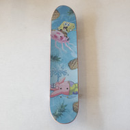 Blank Beginner Skateboard -Sponge Bob Jelly Fishing Griptape - 7.5 inch wide - Wood Grain