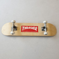 Blank Beginner Skateboard 8 inch wide - Wood Grain - Thrasher Sticker