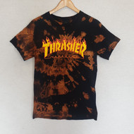 Thrasher Flame Logo Tee - Black Hand Dyed Design