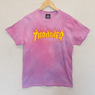 Thrasher Flame Logo Tee - Pink Hand Dyed Design