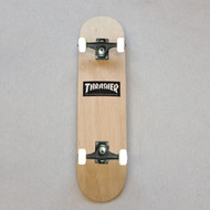 Blank Beginner Skateboard 7.75 inch wide - Wood Grain - Thrasher Sticker