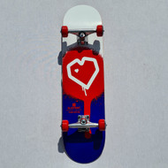 Blueprint Heart Complete Skateboard - 8 Inch - Blue/Red