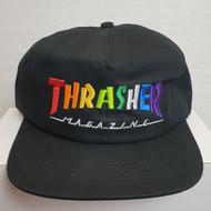 Thrasher Skateboard Mag Rainbow Snapback Cap - Black