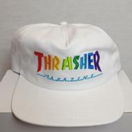 Thrasher Skateboard Mag Rainbow Snapback Cap - White