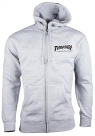 Thrasher Zip Hood Logo - Grey