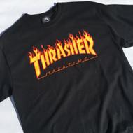 Thrasher T Shirt Flame Logo - Black