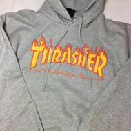 Thrasher Hoody Flame Logo - Grey