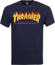 Thrasher T Shirt Flame Logo - Navy