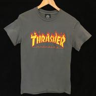 Thrasher T Shirt Flame Logo - Charcoal
